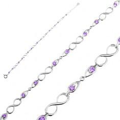 Karkötő 925 ezüstből, fényes nyolcasok és masnik lila cirkóniákkal