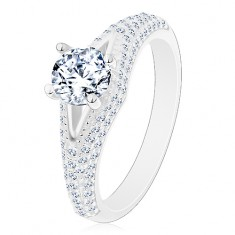 Gyűrű 925 ezüstből - eljegyzési, átlátszó kerek cirkónia, keskeny kivágás, csillogó szárak