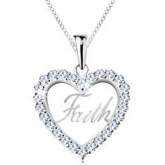 925 ezüst nyaklánc, cirkóniás szív körvonal, Faith felirat, vékony lánc
