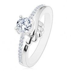 Eljegyzési gyűrű, 925 ezüst, átlátszó cirkónia és csillogó szárak, levelek