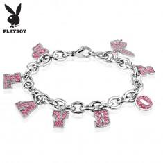 Karkötő 316L acélból ezüst színben, medálok - rózsaszín felirat PLAYBOY és nyuszi