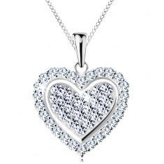Nyaklánc 925 ezüstből, csillogó szív átlátszó cirkóniákkal kirakva