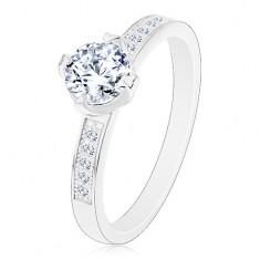 925 ezüst gyűrű, átlátszó cirkónia díszes foglalatban, cirkóniák a szárakon