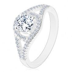 Csillogó eljegyzési gyűrű, 925 ezüst, osztott szárak, kör cirkóniával
