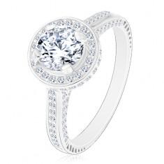 925 ezüst gyűrű, csillogó kerek cirkónia átlátszó színben fényes körben