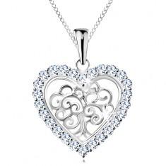 925 ezüst nyakék, életfa szív alakú szegélyben, átlátszó cirkóniák