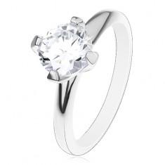 925 ezüst eljegyzési gyűrű, kiemelkedő cirkónia átlátszó színben