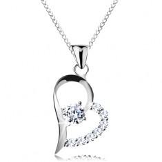 925 ezüst nyaklánc, átlátszó cirkónia aszimmetrikus szív körvonalban, lánc