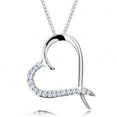 925 ezüst nyaklánc, lánc és szív körvonal cirkóniás féllel