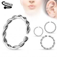 Piercing orrba vagy fülbe, sebészeti acél, spirálisan tekert karika