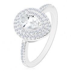 925 ezüst eljegyzési gyűrű, átlátszó csiszolt csepp dupla körvonalban
