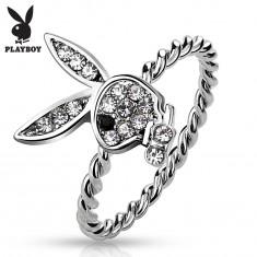 Gyűrű ezüst színben, Playboy nyuszi átlátszó cirkóniákkal és fekete szemmel
