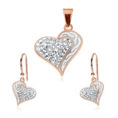 925 ezüst szett - fülbevaló és medál réz színben, szív hullámokkal és cirkóniákkal