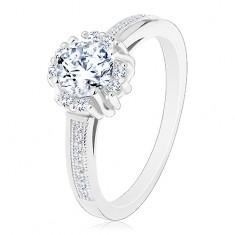 Eljegyzési gyűrű - 925 ezüst, csillogó átlátszó cirkónia, apró cirkónia párok