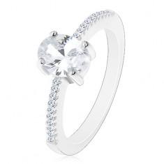 925 ezüst gyűrű, ovális átlátszó cirkónia foglalatban, cirkóniás szárak