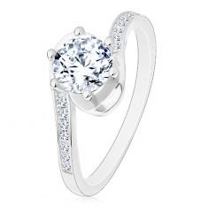 925 ezüst gyűrű, fényes szárak hajlított végekkel, kerek átlátszó cirkónia