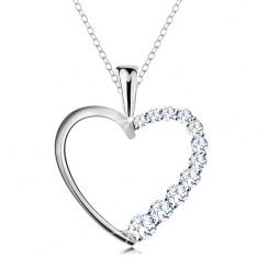 Nyaklánc 925 ezüstből, szív körvonal cirkóniás féllel, lánc