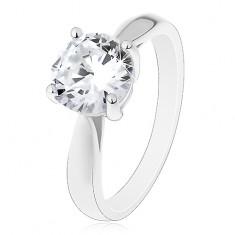 Eljegyzési gyűrű - 925 ezüst, fényes lekerekített szárak, nagy átlátszó cirkónia