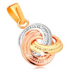 Medál 14K aranyból - háromszínű összekapcsolt karikák bemetszéssel