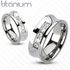 Titán gyűrű, ezüst színben, átlátszó cirkóniás sávval a közepén, 8 mm