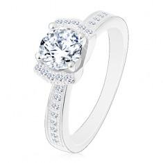 Eljegyzési gyűrű 925 ezüstből, csillogó átlátszó cirkónia, két csillogó ív