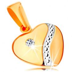 14K arany medál - szabályos szív alak, kidomborodó felület cirkóniával és fehér arany hullámos vonal