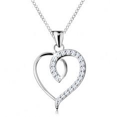 925 ezüst nyaklánc, aszimmetrikus szív körvonal csillogó féllel