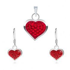 925 ezüst szett - fülbevaló és medál, piros cirkóniás szív