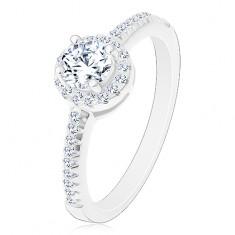 Eljegyzési gyűrű  - 925 ezüst, csillogó kerek cirkónia szegélyben