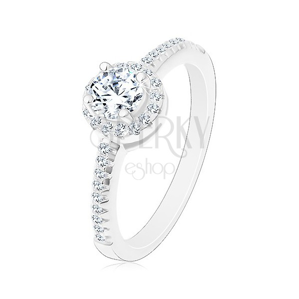 e7ca6b0af Eljegyzési gyűrű - 925 ezüst, csillogó kerek cirkónia szegélyben ...