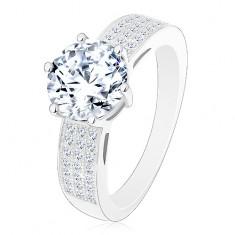 Eljegyzési gyűrű, 925 ezüst gyűrű, nagy csillogó cirkónia, cirkóniás vonalak a szárakon