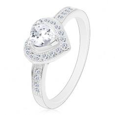 Eljegyzési gyűrű - 925 ezüst, átlátszó szív, csillogó körvonal és szárak