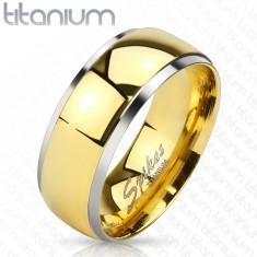 Titánium gyűrű - fényes sáv arany árnyalatban és keskeny ezüst színű szélek, 8 mm