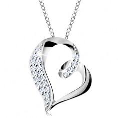 925 ezüst nyaklánc, aszimmetrikus szív körvonal hurokkal és cirkóniákkal