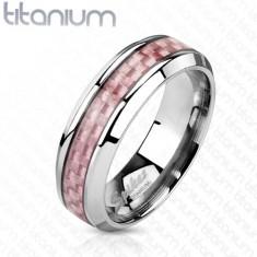 Titánium gyűrű ezüst színben, középső sáv rózsaszín anyagból, 6 mm
