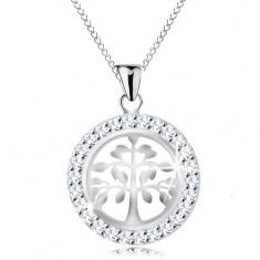 925 ezüst nyaklánc, medál - fényes életfa csillogó karikában