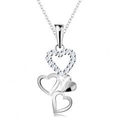 Nyaklánc 925 ezüstből, medál - négy összekapcsolt szív, átlátszó cirkóniák