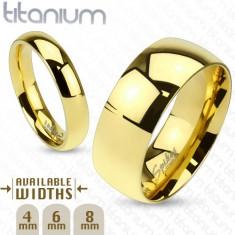 Fényes titánium karikagyűrű arany színben sima kidomborodó felülettel, 6 mm