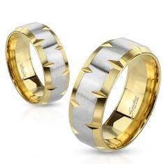 316L karikagyűrű, arany és ezüst szín, vésetek a szélein, 6 mm