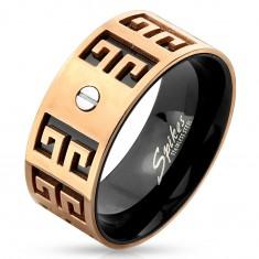 Acél gyűrű - réz és fekete színben, vésett szimbólumok, kis csavar, 9 mm