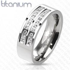 Titánium gyűrű ezüst árnyalatban átlátszó cirkóniás vonalakkal, 7 mm