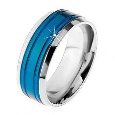 Gyűrű sebészeti acélból, kék sáv, ezüst színű szegélyek, bemetszések, 8 mm
