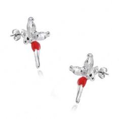 Beszúrós fülbevaló - 925 ezüst, tündér piros szoknyával és cirkóniákkal a szárnyakon