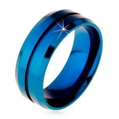 Kék gyűrű sebészeti acélból, keskeny rovátka középen, lemetszett szélek, 8 mm