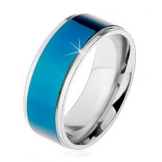 Acél gyűrű, sötétkék sáv, ezüst színű szegély, magas fényesség, 8 mm
