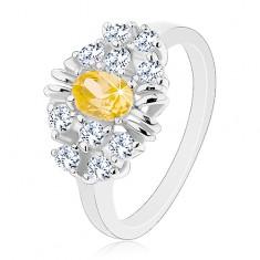 Gyűrű fényes sima szárakkal, csiszolt sárga ovális, átlátszó cirkóniák