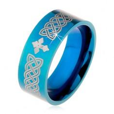 Fényes gyűrű 316L acélból, kék szín, keltai szimbólumok és kereszt, 8 mm