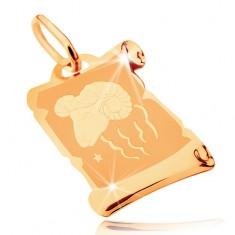 585 arany medál - pergamen tekercs állatövi jeggyel KOS