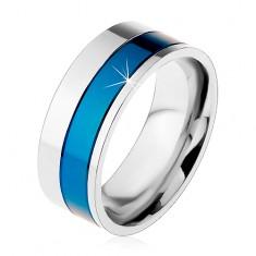 Gyűrű sebészeti acélból, kék és ezüst színű sávok, 8 mm