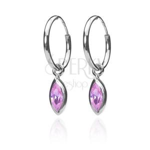 925 ezüst fülbevaló - karika és rózsaszín búzaszem, 12 mm